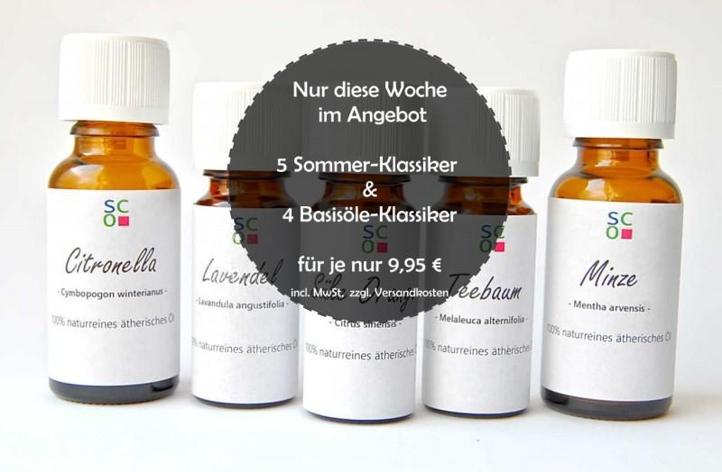 ANGEBOT: 5 Klassiker der Aromatherapie und  4 klassische Basisöle